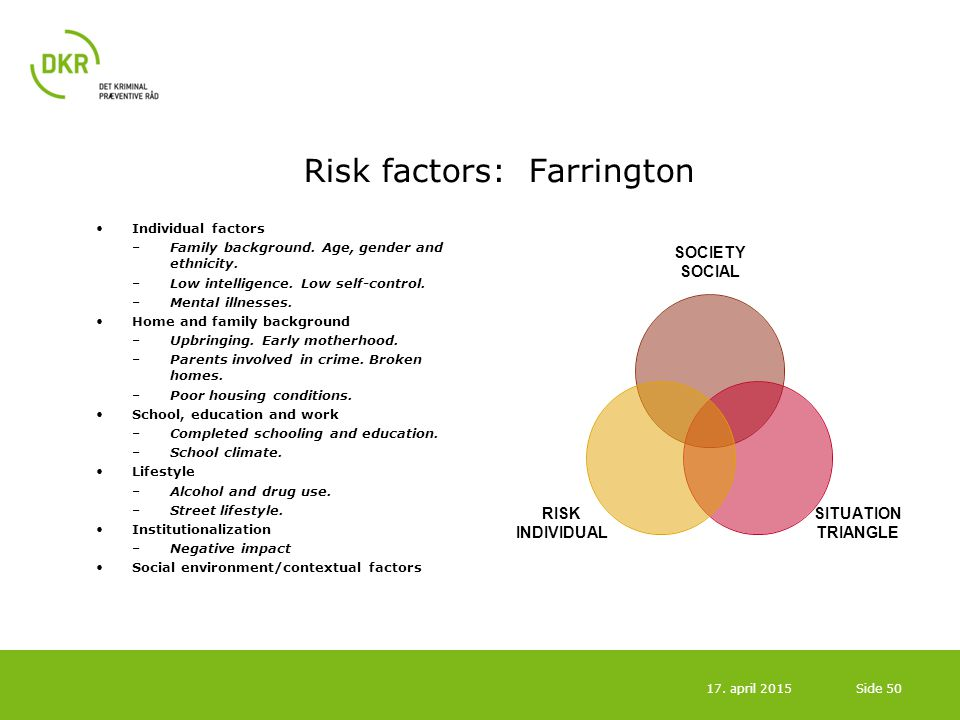 Risk factors: Farrington Individual factors –Family background. Age, gender and ethnicity. –Low intelligence. Low self-control. –Mental illnesses. Hom