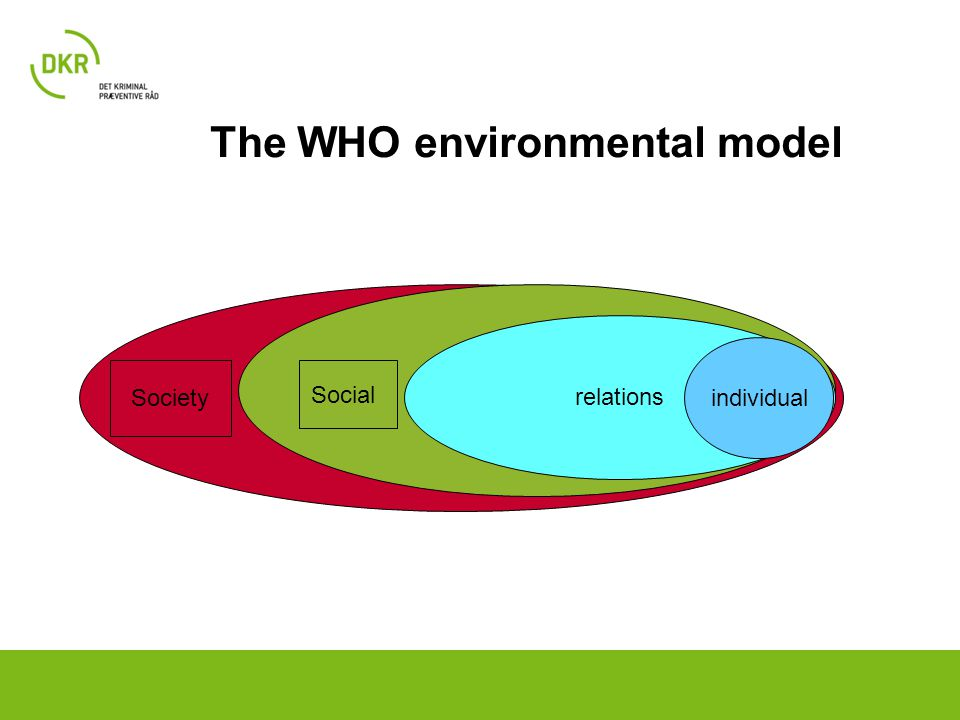 relations individual Social Society The WHO environmental model