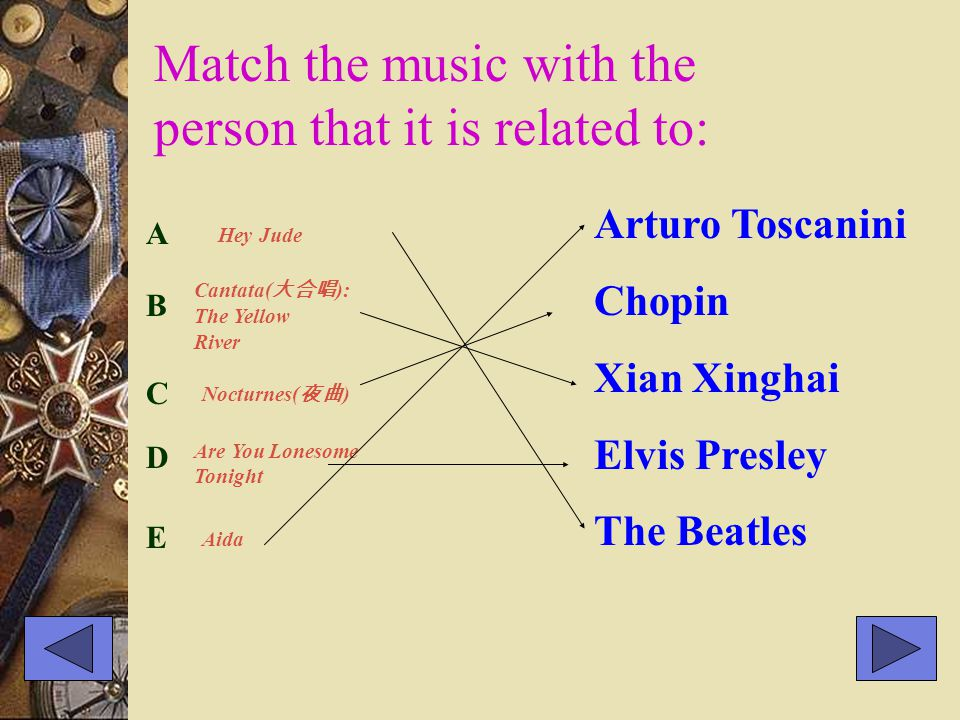 Match the music with the person that it is related to: Arturo Toscanini Chopin Xian Xinghai Elvis Presley The Beatles A Hey Jude B Cantata( 大合唱 ): The