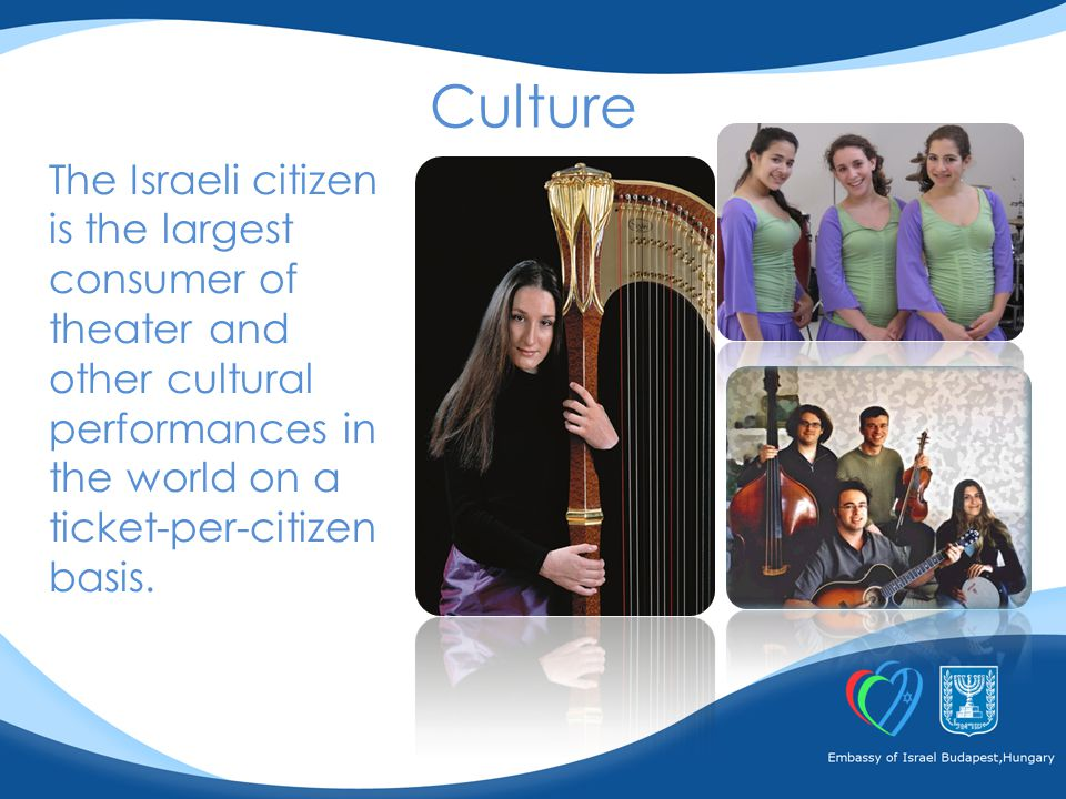 The Israeli citizen is the largest consumer of theater and other cultural performances in the world on a ticket-per-citizen basis.