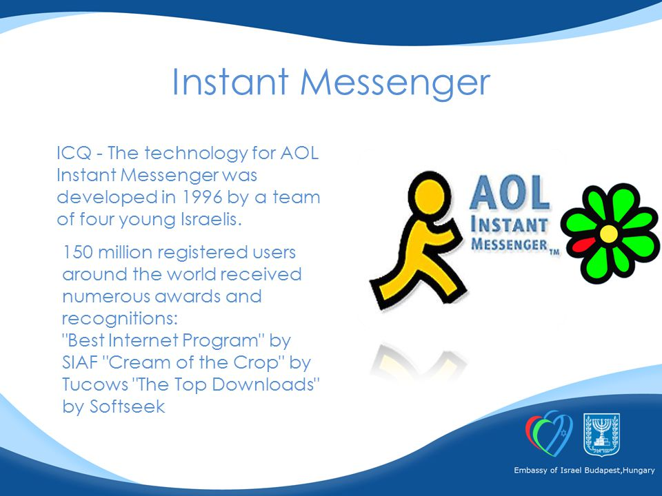 ICQ - The technology for AOL Instant Messenger was developed in 1996 by a team of four young Israelis.