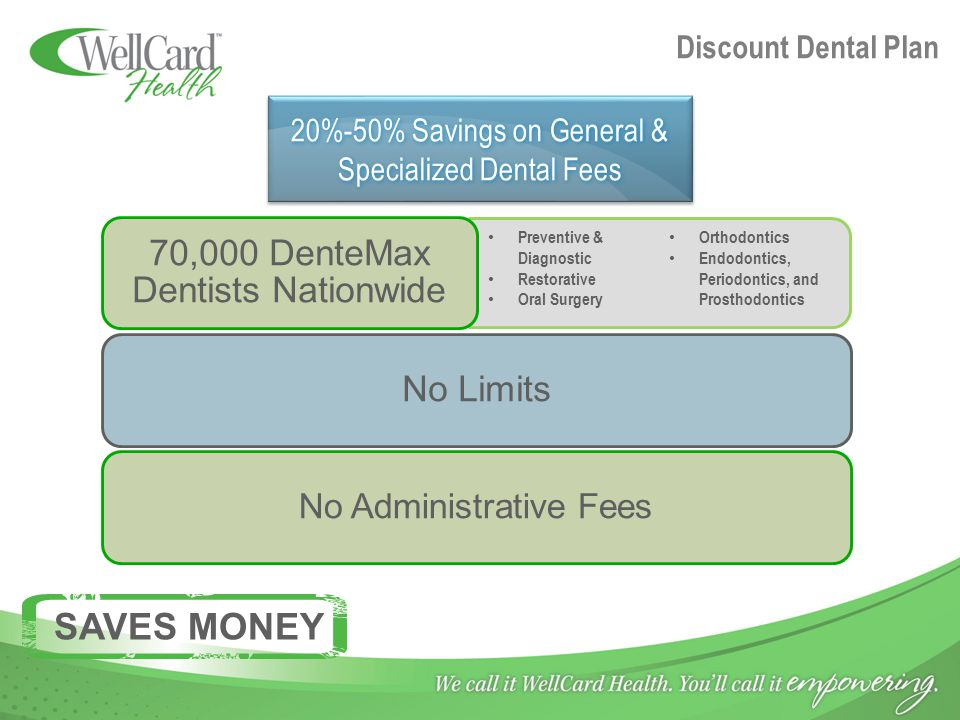 Discount Dental Plan 70,000 DenteMax Dentists Nationwide No Limits No Administrative Fees 20%-50% Savings on General & Specialized Dental Fees Preventive & Diagnostic Restorative Oral Surgery Orthodontics Endodontics, Periodontics, and Prosthodontics SAVES MONEY
