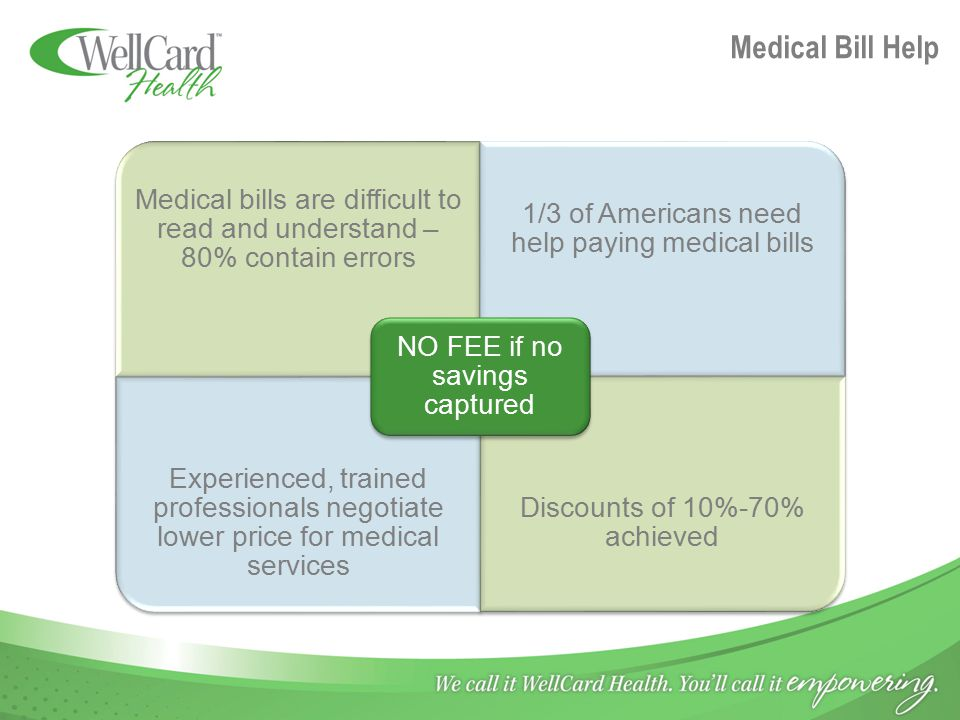 Medical Bill Help Medical bills are difficult to read and understand – 80% contain errors 1/3 of Americans need help paying medical bills Experienced, trained professionals negotiate lower price for medical services Discounts of 10%-70% achieved NO FEE if no savings captured