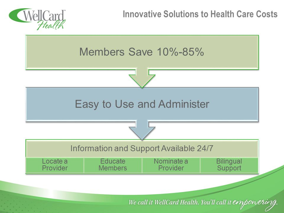 Innovative Solutions to Health Care Costs Information and Support Available 24/7 Locate a Provider Educate Members Nominate a Provider Bilingual Suppo