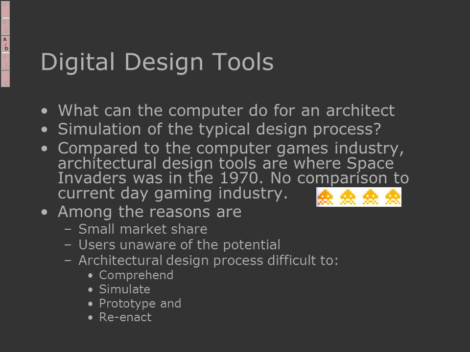 Digital Design Tools What can the computer do for an architect Simulation of the typical design process.