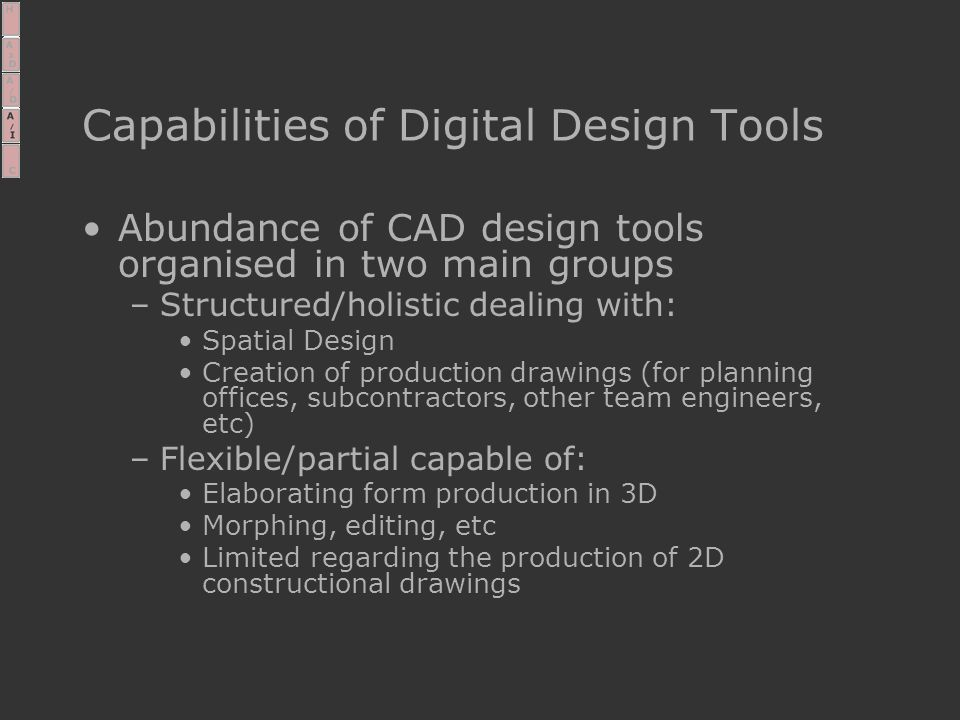 Capabilities of Digital Design Tools Abundance of CAD design tools organised in two main groups –Structured/holistic dealing with: Spatial Design Creation of production drawings (for planning offices, subcontractors, other team engineers, etc) –Flexible/partial capable of: Elaborating form production in 3D Morphing, editing, etc Limited regarding the production of 2D constructional drawings