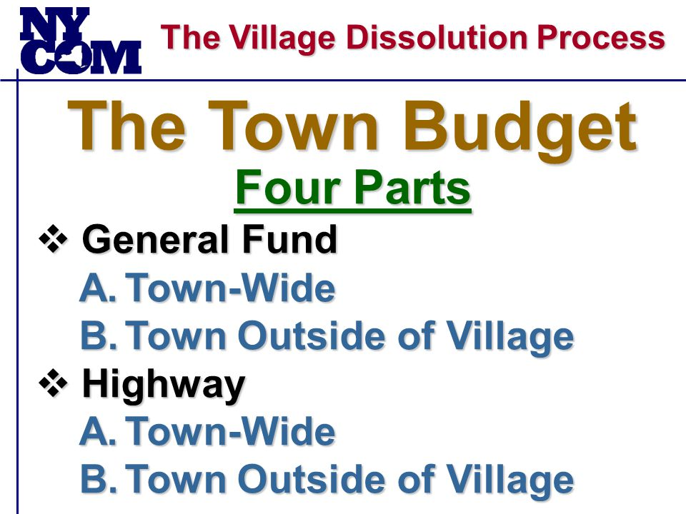 The Village Dissolution Process The Town Budget Four Parts  General Fund A.Town-Wide B.Town Outside of Village  Highway A.Town-Wide B.Town Outside of Village