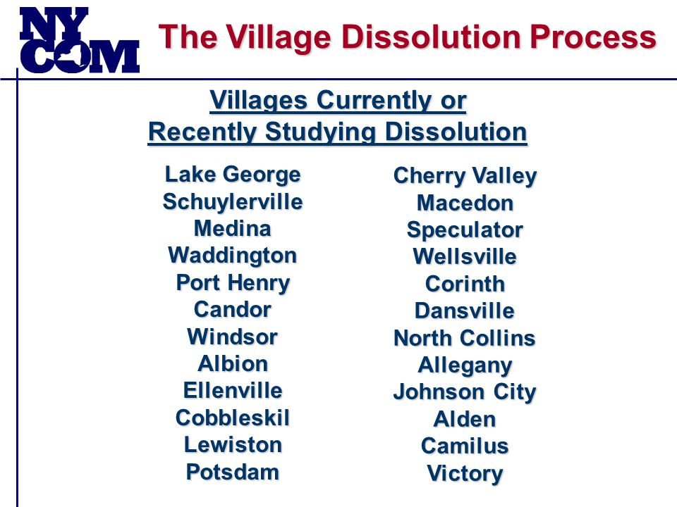 The Village Dissolution Process  NYCOM's Recommended Changes to the Act – A.1274/S.1824 6.Require Vote to be Held at Normally Scheduled Election 7.For County Initiated Consolidation or Dissolution, Require Majority Vote in Each Local Government Separately for Any Activity General Municipal Law Article 17-A