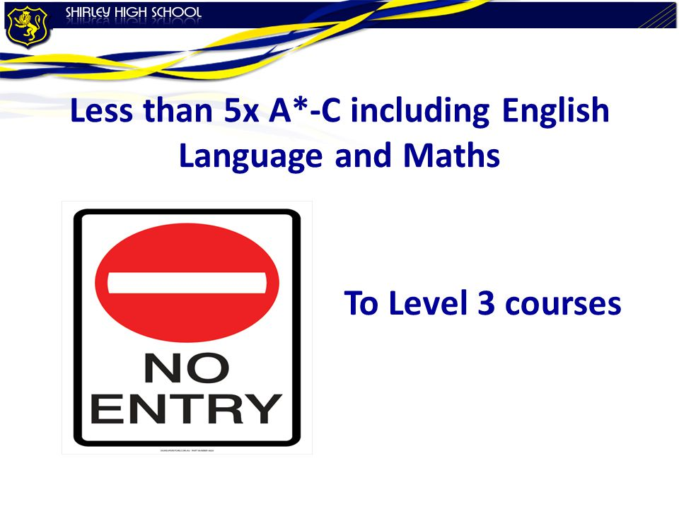 Less than 5x A*-C including English Language and Maths To Level 3 courses