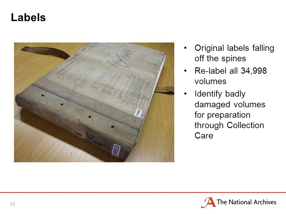 Labels Original labels falling off the spines Re-label all 34,998 volumes Identify badly damaged volumes for preparation through Collection Care 10