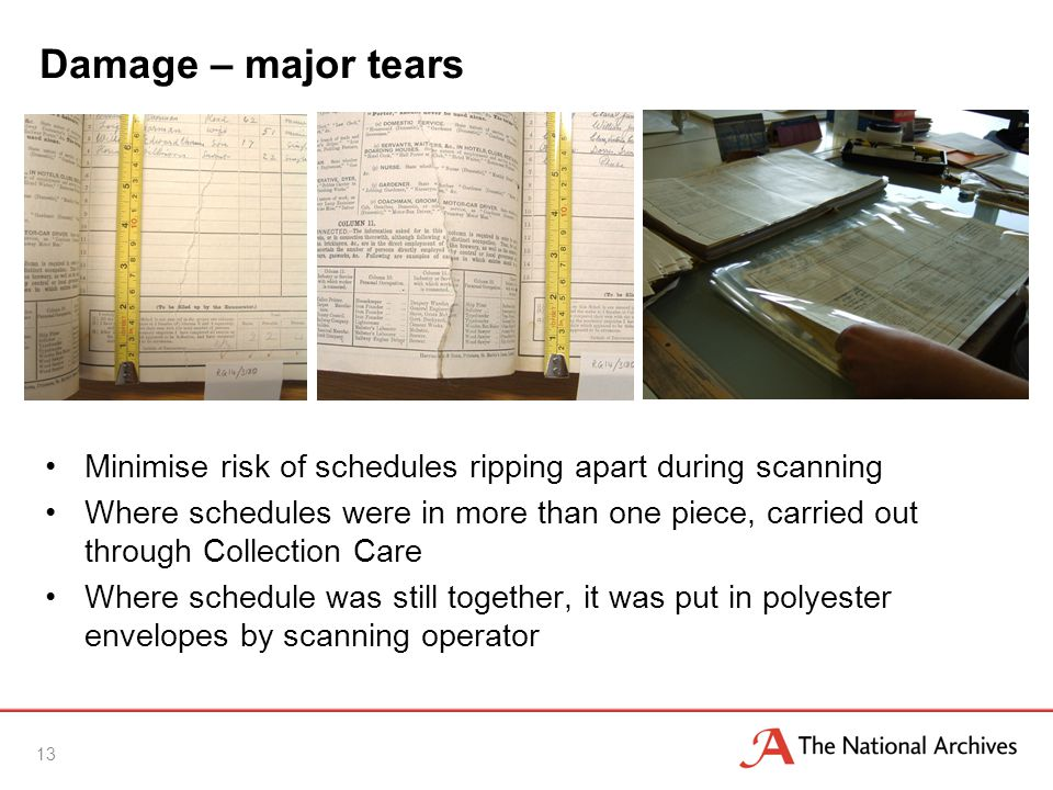 Damage – major tears Minimise risk of schedules ripping apart during scanning Where schedules were in more than one piece, carried out through Collection Care Where schedule was still together, it was put in polyester envelopes by scanning operator 13