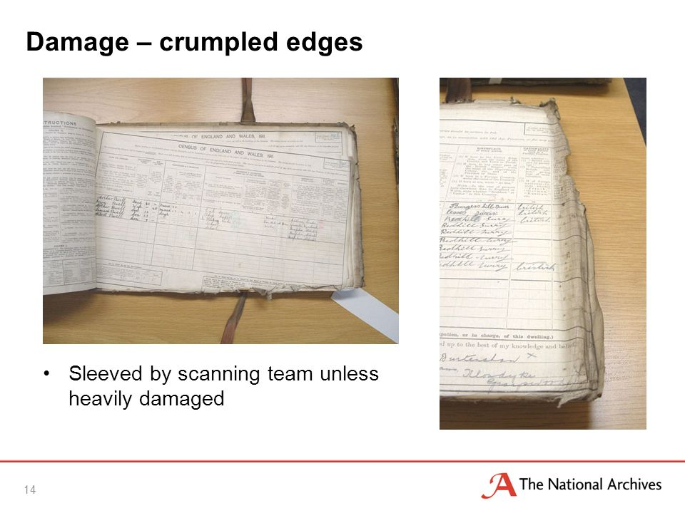 Damage – crumpled edges Sleeved by scanning team unless heavily damaged 14