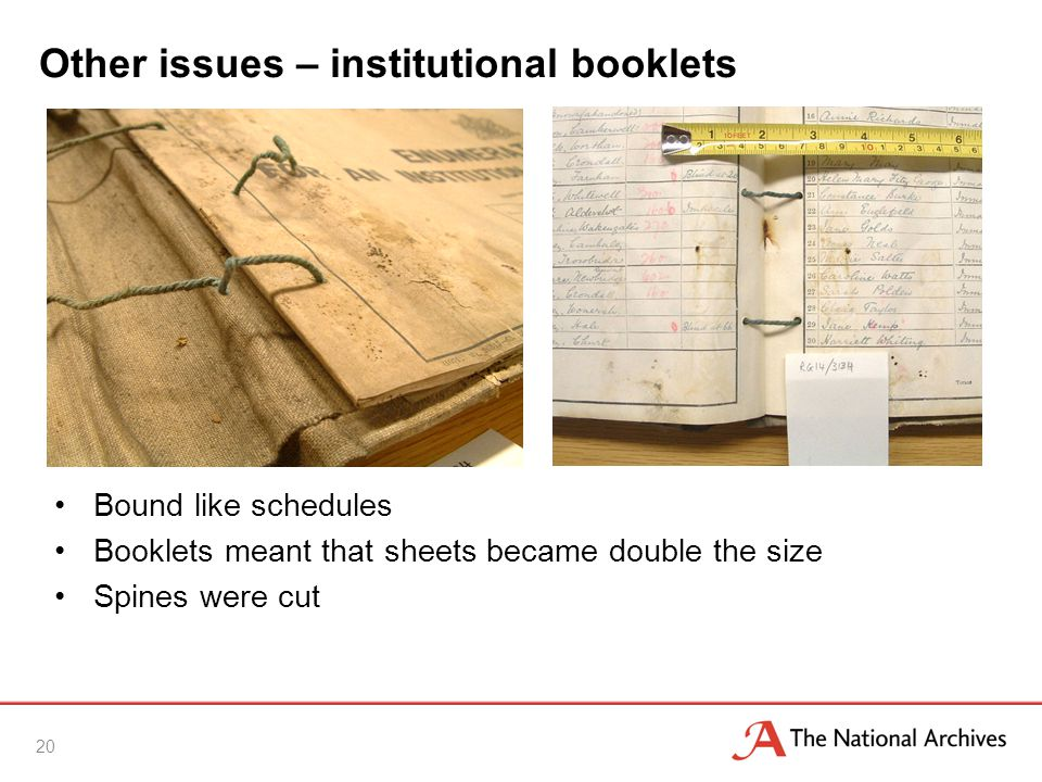 Other issues – institutional booklets Bound like schedules Booklets meant that sheets became double the size Spines were cut 20