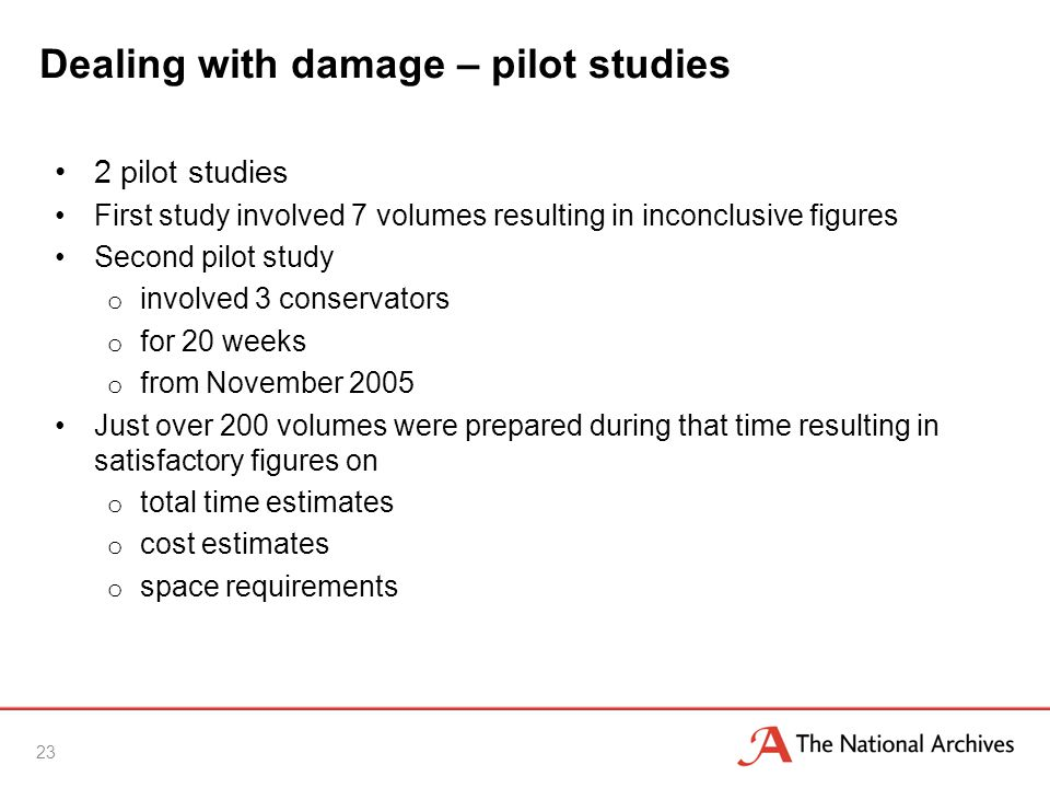 Dealing with damage – pilot studies 2 pilot studies First study involved 7 volumes resulting in inconclusive figures Second pilot study o involved 3 conservators o for 20 weeks o from November 2005 Just over 200 volumes were prepared during that time resulting in satisfactory figures on o total time estimates o cost estimates o space requirements 23