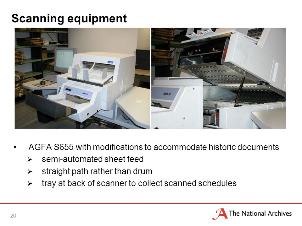 Scanning equipment 26 AGFA S655 with modifications to accommodate historic documents  semi-automated sheet feed  straight path rather than drum  tray at back of scanner to collect scanned schedules