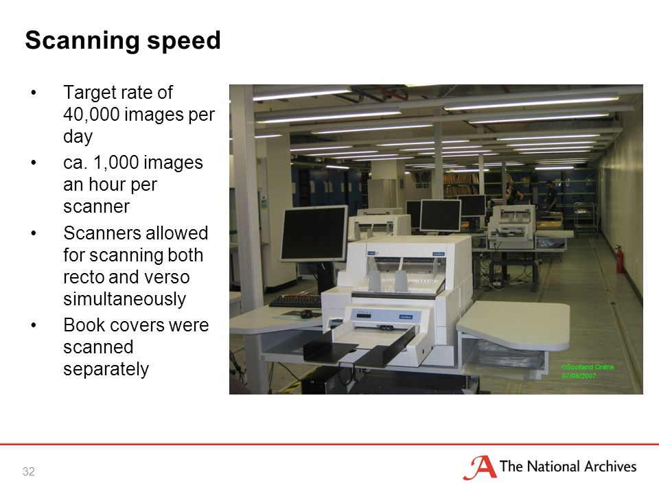Scanning speed 32 Target rate of 40,000 images per day ca.