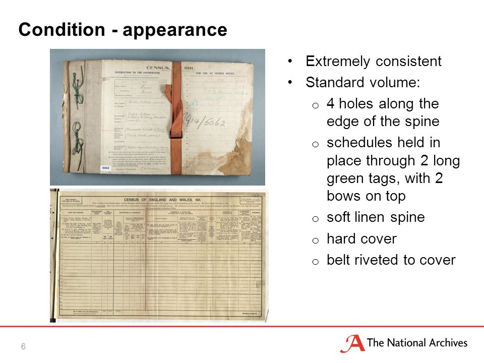 Condition - appearance Extremely consistent Standard volume: o 4 holes along the edge of the spine o schedules held in place through 2 long green tags, with 2 bows on top o soft linen spine o hard cover o belt riveted to cover 6