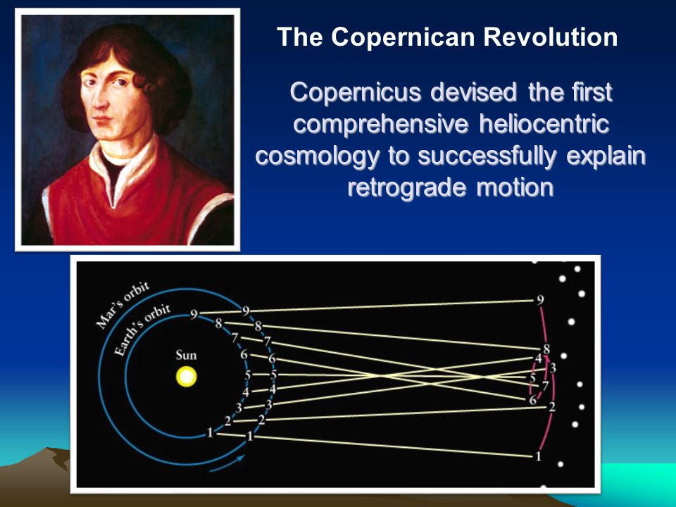Copernicus devised the first comprehensive heliocentric cosmology to successfully explain retrograde motion The Copernican Revolution