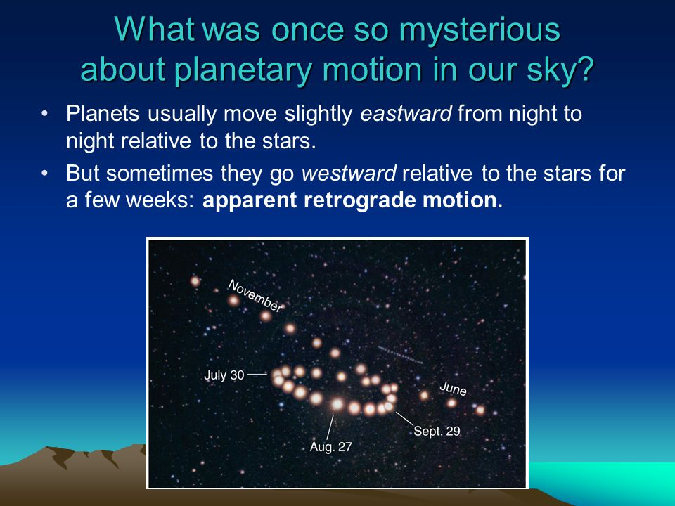 What was once so mysterious about planetary motion in our sky? Planets usually move slightly eastward from night to night relative to the stars. But s