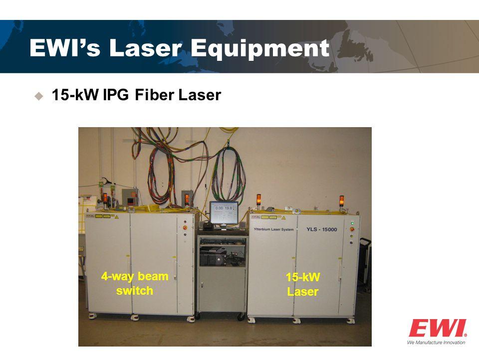 EWI's Laser Equipment  15-kW IPG Fiber Laser 4-way beam switch 15-kW Laser