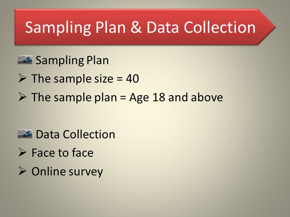 Sampling Plan & Data Collection Sampling Plan  The sample size = 40  The sample plan = Age 18 and above Data Collection  Face to face  Online surv