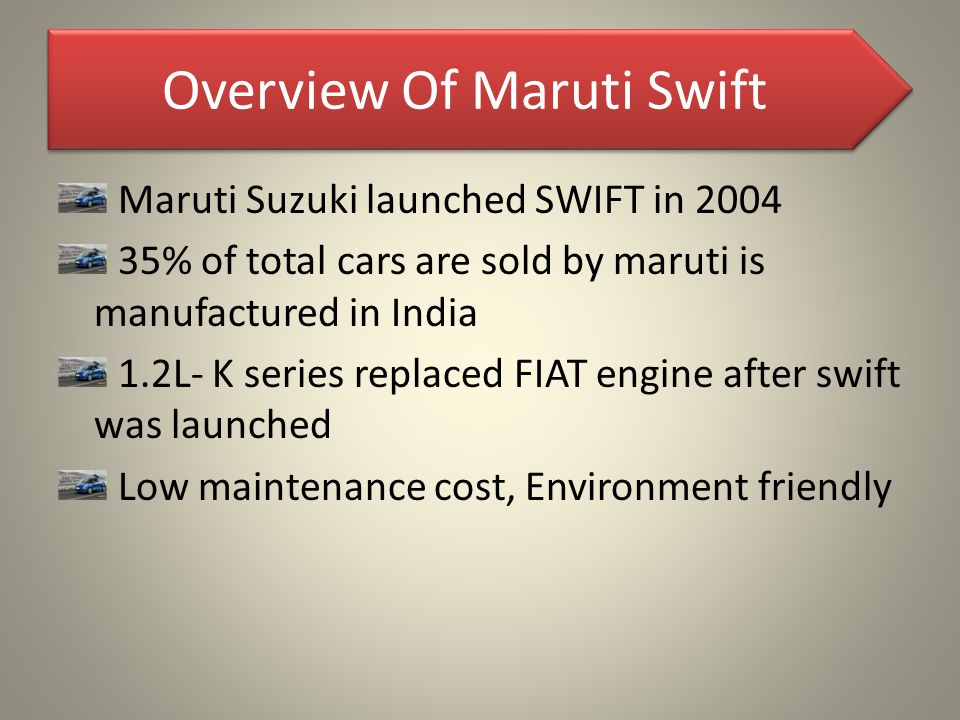 Overview Of Maruti Swift Maruti Suzuki launched SWIFT in 2004 35% of total cars are sold by maruti is manufactured in India 1.2L- K series replaced FI