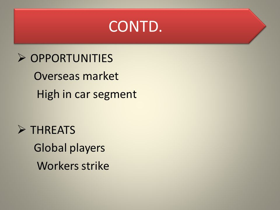 CONTD.  OPPORTUNITIES Overseas market High in car segment  THREATS Global players Workers strike