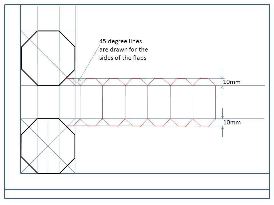 PARALLEL MOTION 10mm 45 degree lines are drawn for the sides of the flaps