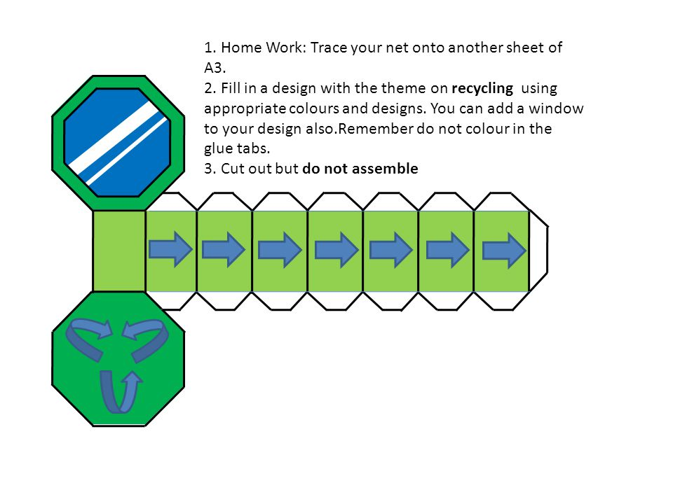 1. Home Work: Trace your net onto another sheet of A3. 2. Fill in a design with the theme on recycling using appropriate colours and designs. You can