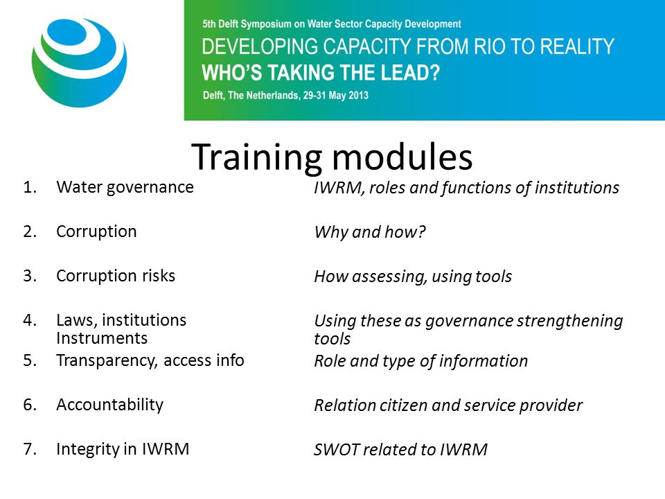 Training modules 1.Water governance 2.Corruption 3.Corruption risks 4.Laws, institutions Instruments 5.Transparency, access info 6.Accountability 7.Integrity in IWRM IWRM, roles and functions of institutions Why and how.