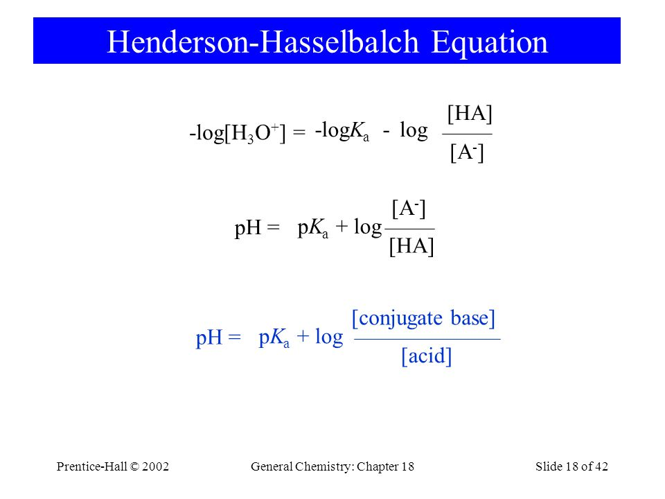 Prentice-Hall © 2002General Chemistry: Chapter 18Slide 18 of 42 Henderson-Hasselbalch Equation pK a + log [HA] pH = [A - ] pK a + log [acid] pH = [con