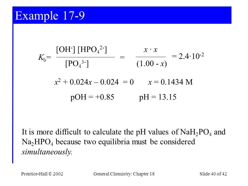 Prentice-Hall © 2002General Chemistry: Chapter 18Slide 40 of 42 Example 17-9 x 2 + 0.024x – 0.024 = 0 x = 0.1434 M pOH = +0.85 pH = 13.15 [OH - ] [HPO 4 2- ] [PO 4 3- ] Kb=Kb= x · x (1.00 - x) = = 2.4·10 -2 It is more difficult to calculate the pH values of NaH 2 PO 4 and Na 2 HPO 4 because two equilibria must be considered simultaneously.