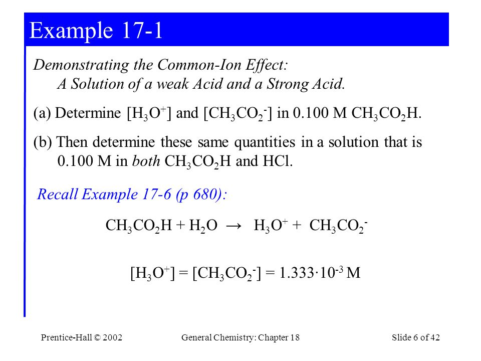Prentice-Hall © 2002General Chemistry: Chapter 18Slide 6 of 42 Example 17-1 Demonstrating the Common-Ion Effect: A Solution of a weak Acid and a Strong Acid.