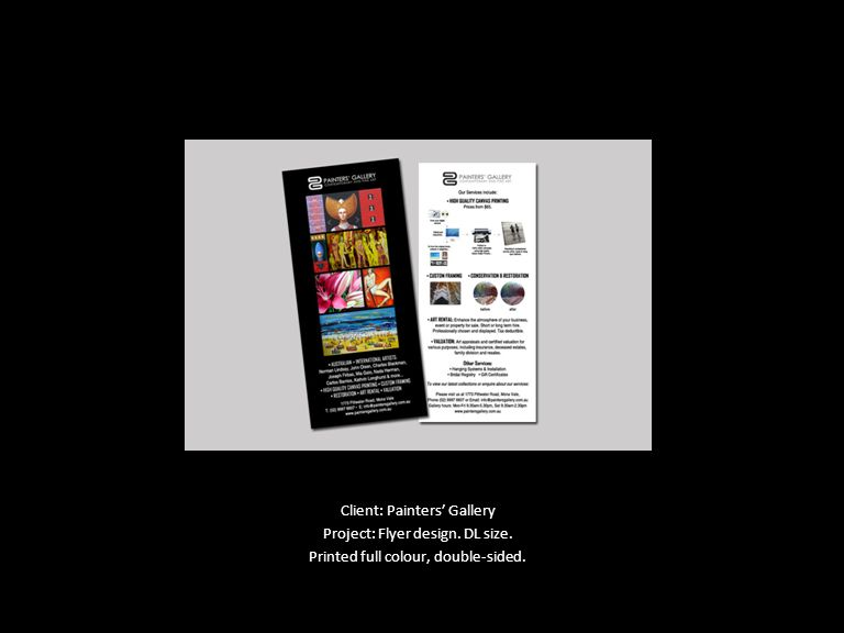 Client: Painters' Gallery Project: Flyer design. DL size. Printed full colour, double-sided.