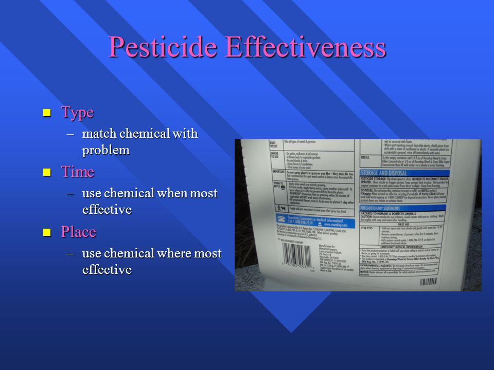 Pesticide Effectiveness n Type –match chemical with problem n Time –use chemical when most effective n Place –use chemical where most effective