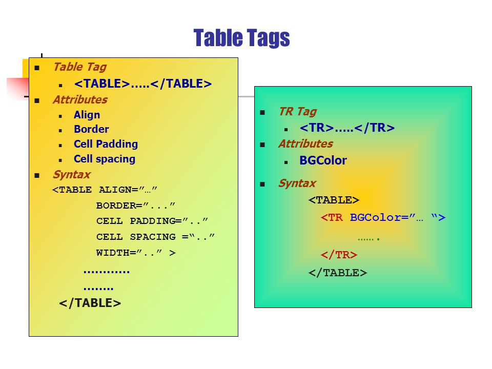 Table Tags Table Tag …..