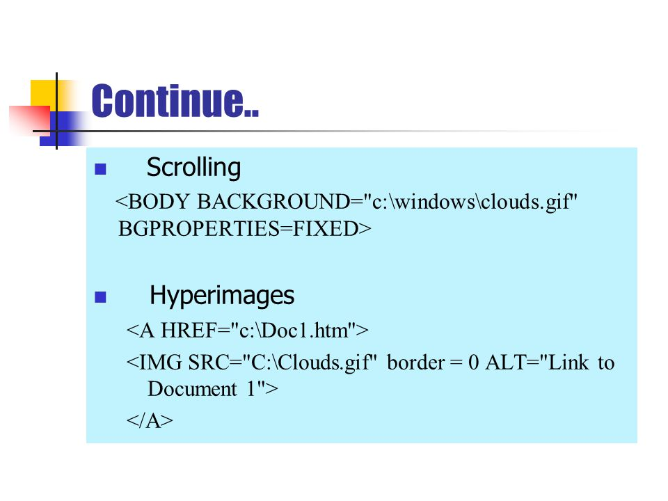 Continue.. Scrolling Hyperimages