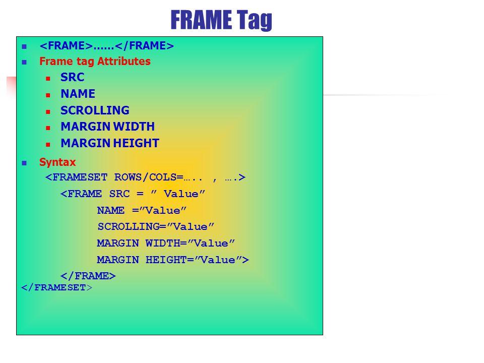 FRAME Tag …...