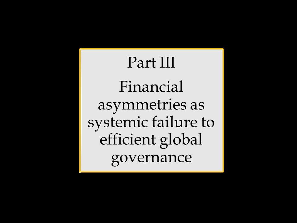 Part III Financial asymmetries as systemic failure to efficient global governance
