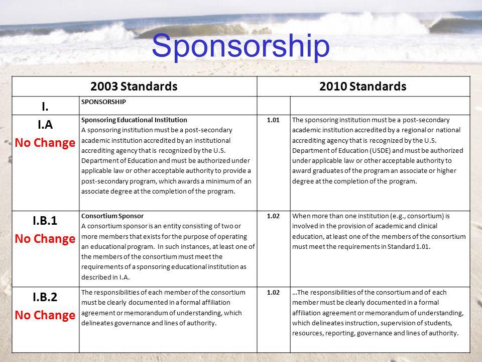 Sponsorship 2003 Standards2010 Standards I.