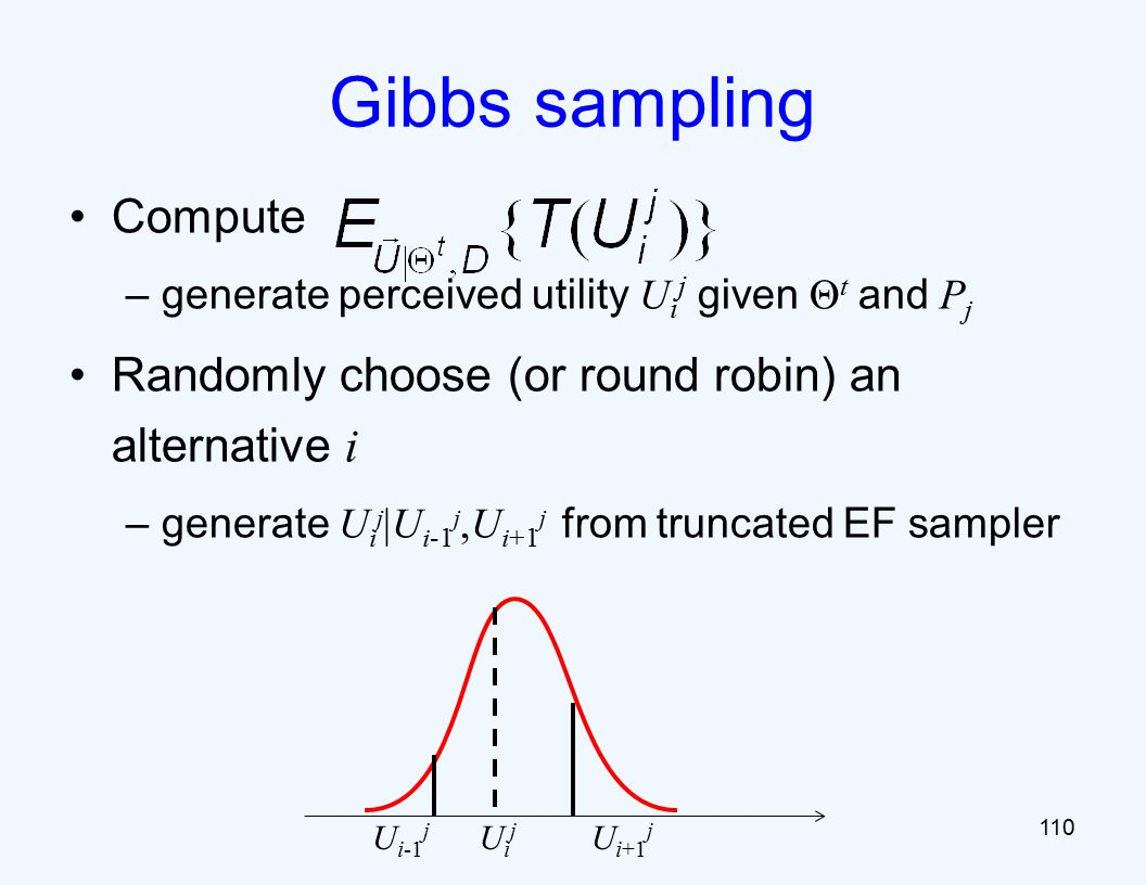 Compute –generate perceived utility U i j given Θ t and P j Randomly choose (or round robin) an alternative i –generate U i j |U i-1 j,U i+1 j from truncated EF sampler 110 Gibbs sampling U i-1 j U i+1 j UijUij