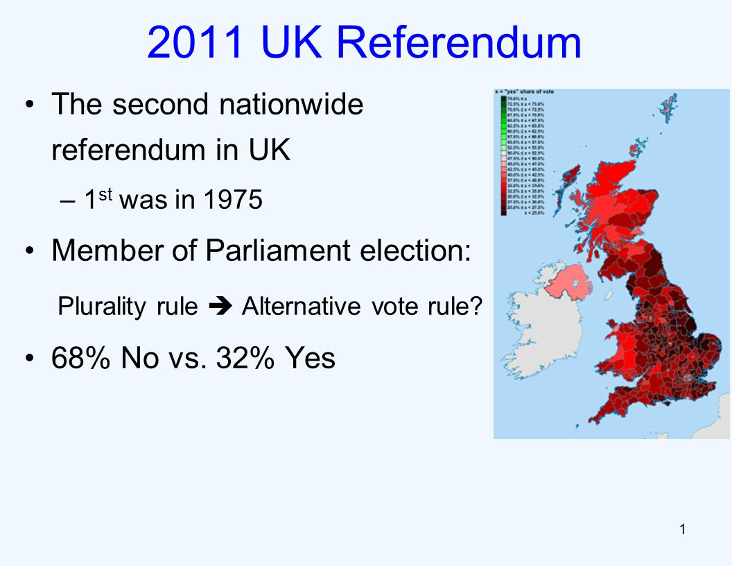 The second nationwide referendum in UK –1 st was in 1975 Member of Parliament election: Plurality rule  Alternative vote rule.