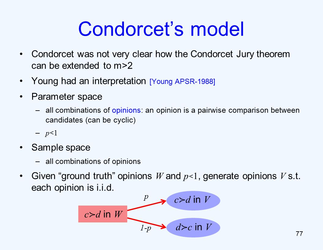 Condorcet was not very clear how the Condorcet Jury theorem can be extended to m>2 Young had an interpretation [Young APSR-1988] Parameter space –all combinations of opinions: an opinion is a pairwise comparison between candidates (can be cyclic) – p < 1 Sample space –all combinations of opinions Given ground truth opinions W and p < 1, generate opinions V s.t.