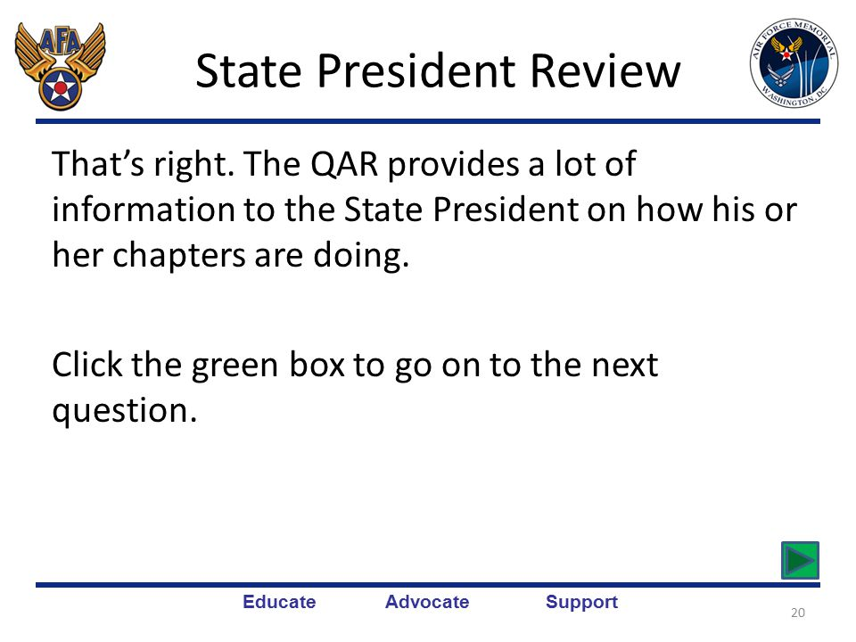 Educate Advocate Support State President Review Sorry, the State President uses the chapter QAR for more than one thing.