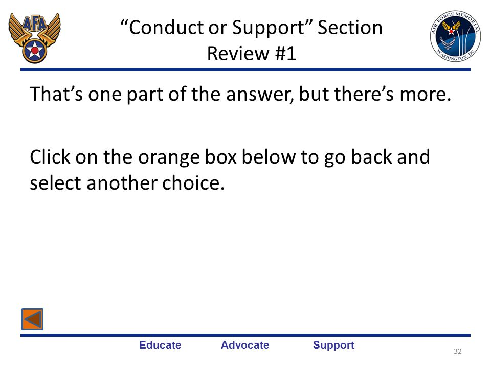 Educate Advocate Support Conduct or Support Section Review #1 Note: P = Planned and A = Accomplished.