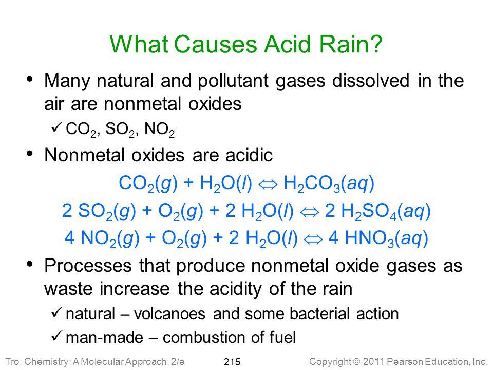 Copyright  2011 Pearson Education, Inc.215 What Causes Acid Rain.