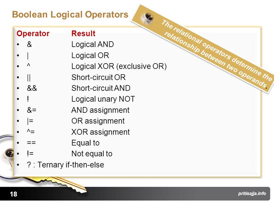 18 pritisajja.info Boolean Logical Operators Operator Result & Logical AND | Logical OR ^ Logical XOR (exclusive OR) || Short-circuit OR && Short-circuit AND .