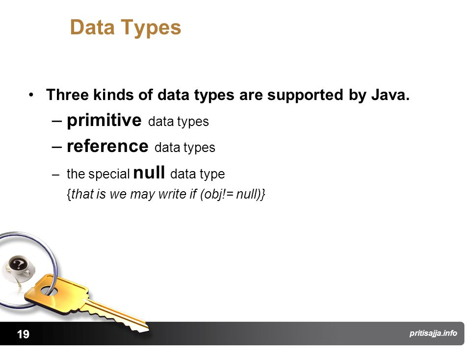 19 pritisajja.info Data Types Three kinds of data types are supported by Java.