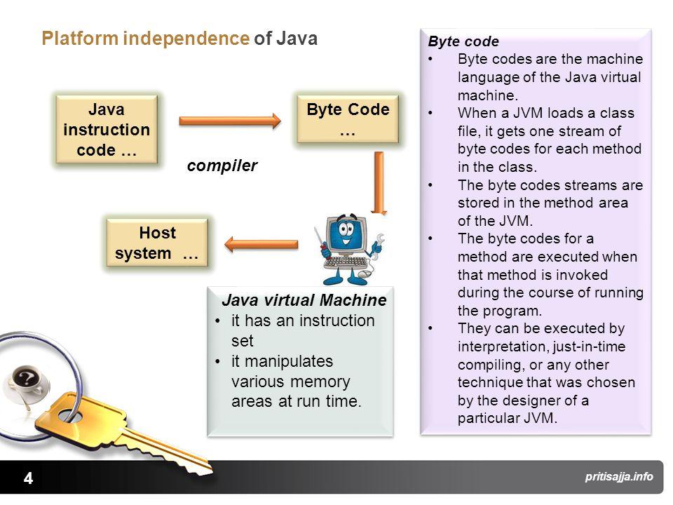 4 pritisajja.info Platform independence of Java Java instruction code … Byte Code … compiler Java virtual Machine it has an instruction set it manipul