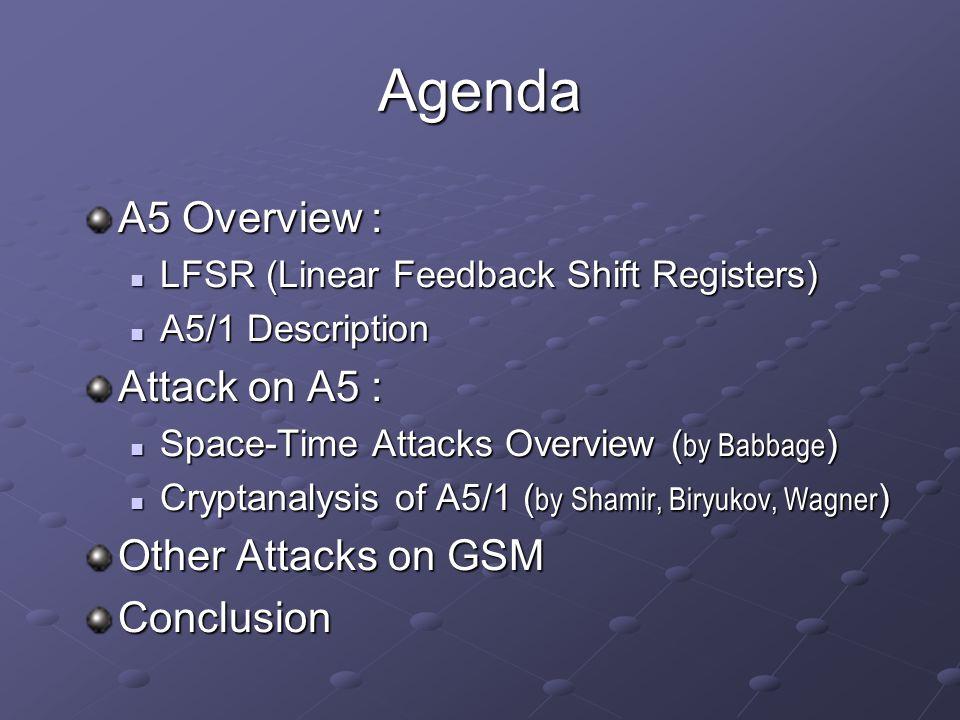 Agenda A5 Overview : LFSR (Linear Feedback Shift Registers) LFSR (Linear Feedback Shift Registers) A5/1 Description A5/1 Description Attack on A5 : Sp